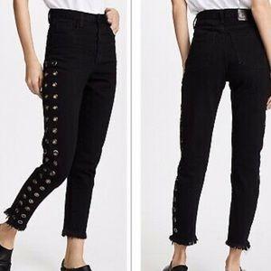 One Teaspoon Legend High Waist Grommet Black Jeans